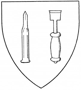 Stonecutter's chisel, edge to chief (Accepted); wood chisel, edge to chief (Period)