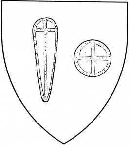 Kite shield (Accepted); round shield (Period)